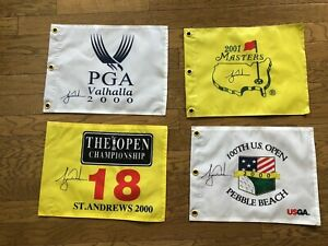 Tiger Woods Slam flags -Masters,2000 US Open Pebble Beach,St.Andrews,Vahalla PGA