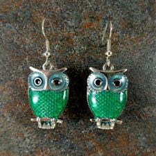 Silver Dangle Owl Earrings, Simple Women's Green Enamel Owl Earrings, Antique