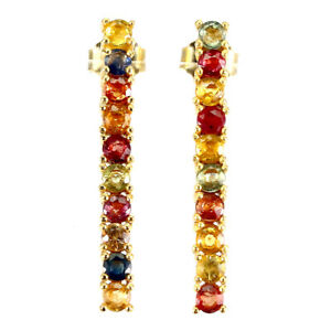 Round Sapphire Multi Color 3mm Yellow Gold Plate 925 Sterling Silver Earrings
