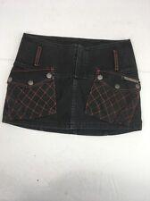Vintage Diesel Metal Madness Black Orange trim denim short casual skirt sz 26