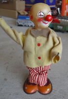 "Vintage 1950s Modern Toys TM Japan Windup Clown 6 3/4"" Tall WORKS"