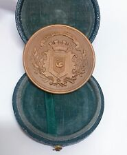 "Rare Antique Bronze French ""Boulogne Sur Mer"" Medal in Original Box"
