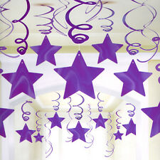 PURPLE SHOOTING STAR SWIRL DECORATIONS (30) ~ Birthday Party Supplies Foil Solid