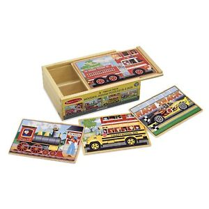 Melissa & Doug  ~ Wooden Jigsaw Puzzles in a Box ~ Vehicles