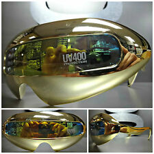 SPACE ROBOT PARTY RAVE COSTUME CYCLOP FUTURISTIC SHIELD DJ PIMP SUN GLASSES Gold