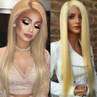 4*4 Silk Top Full Lace Human Hair Wig Wavy Peruvian Bleach Blonde Lace Front hev