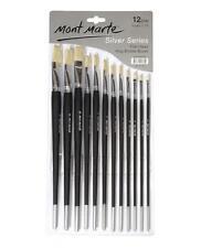 Mont Marte Silver Series Artist Brushes Flat 1-12 12 piece (BMSS0002)