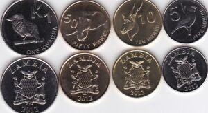 Zambia - set 4 coins 5 10 50 Ngwee 1 Kwacha 2012 UNC Lemberg-Zp