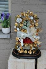 Antique Victorian Bridal wedding dome inside Flower bouquet bisque porcelain