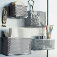 Metal Wire Mesh Magnetic Storage Basket Tray Desk Caddy Storage Box