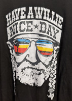 Willie Nelson have a Willie nice day black short sleeve T-Shirt Texas Large