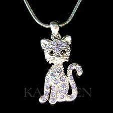 """Purple Kitty Cat Kitten movable made with Swarovski Crystal 18"""" Necklace Jewelry"""