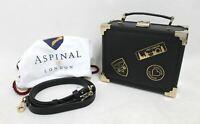 ASPINAL OF LONDON Black Leather Bound Visit London Mini Trunk Clutch Bag