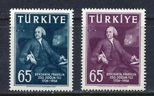 30903) TURKEY 1957 MNH**Benjamin Franklin 2v. Scott# 1259/60