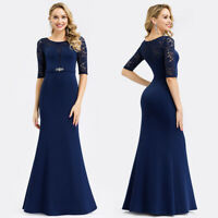 Ever-Pretty Lace Sleeve Fishtail Bodycon Dresses Long Evening Dress Navy Blue