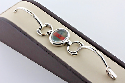 Gucci Red & Green Sterling Silver Bridle Bit Link Vintage Wind Up Ladies Watch