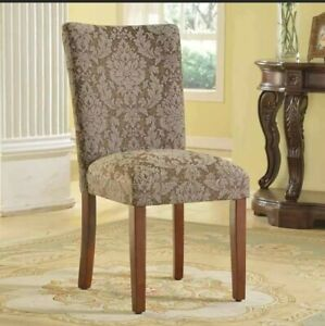 HomePop Elegant Blue and Brown Damask Parson Chairs (Set of Brown N/A