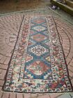 Antique Shabby Chic Worn Caucasian Long Rug, Runner Cabin or Rustic Decor