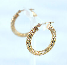 Filigree Hoops 22 mm Round Latchback Earrings 10K Yellow Gold