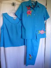 NWT A K C 3-Piece Turquoise Outfit w/Floral Sequin Applique Size Large