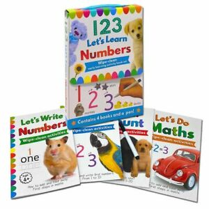 123 Lets Learn Numbers Wipe Clean 4 Books Set Inc Pen NEW