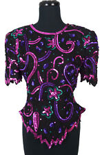 Vintage 80s Laurence Kazar Sequin Bead Top Trophy Glam Cocktail Holiday Blouse