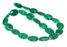 HEDGE MAZES MALACHITE GEMSTONE GREEN OVAL 18X13MM LOOSE BEADS 7""
