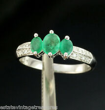 18k White Gold Colombian Emeralds International Diamond Journey Marquise Ring 7