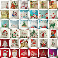 Christmas Xmas Linen Cushion Cover Throw Pillow Case Home Decor Festive Gift