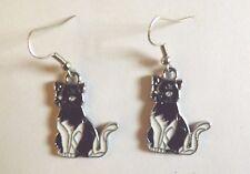 Boucles d'oreilles argentées chat noir et blanc