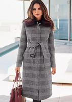 Monochrome Prince of Wales Check Belted Coat with Removable Fur Collar size 14