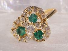 Vintage Diamond & Emerald Cluster Ring 14K Yellow Gold