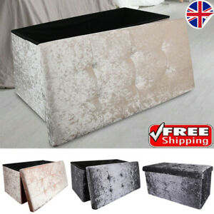 2 Seat Large Crushed Velvet Foldable Ottoman Storage Box Double Bed Foot Stool