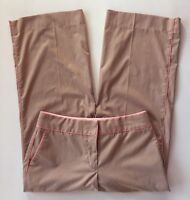 Women's Express Taupe Brown and Pink Striped Correspondent Cropped Pants-Sz 6