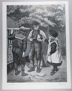 VICTORIAN CHILDREN PET BUNNY RABBIT ANTIQUE ENGRAVING ART PRINT 1903