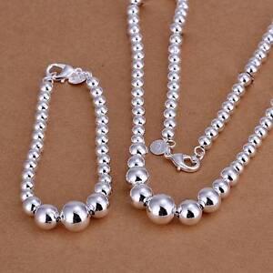 Silberkette Armband Set Sterlingsilber 925 Damen Perlen Kugeln s12c