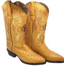 Men's Cowboy Boots Ostrich Print Leather Western Rodeo Botas Liga de Avestruz