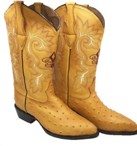 Men's Genuine Cowhide Ostrich Print Cowboy Western J Toe Quality Boots