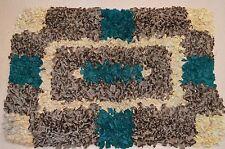 Vintage Handmade Boucherouite Tweed Cotton Rag Rug Browns Green Retro