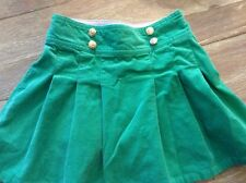 Talbots Kids Green Pleated Stretch Corduroy Skirt With Gold Buttons- Size 6X