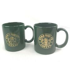 Pair (2) Starbucks Mermaid Coffee Cup Green And Gold Mug Made In USA