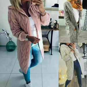 Womens Chunky Cable Knitted Cardigan Longline Open Oversized Hooded Jacket 8-16
