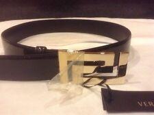Versace patent leather women belt, gold  greek versace logo buckle, size 85-34