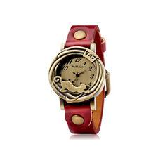 Womage 577 - Orologio analogico - quadrante rotondo con lupo (rosso)