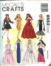 McCalls 8552 Barbie Fashion Doll Clothes 11.5 inch sewing pattern gowns UNCUT