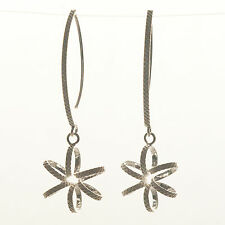 925 Sterling Silver -  Contemporary Flower Drop Earring (SE0127)