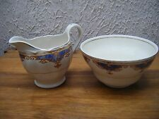 1950's GRINDLEY CREAM PETAL MILK JUG AND SUGAR BOWL- BLUE / YELLOW /GOLDEN BROWN