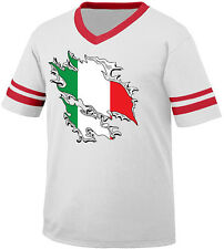 Italian Flag Colors Ripped Torn Through Shirt Heritage Men's V-Neck Ringer Tee