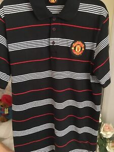 Official Man utd MANCHESTER UNITED FOOTBALL POLO STYLE T SHIRT LARGE