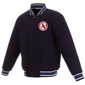 MLB St. Louis Cardinals  Reversible Wool Jacket  2 Front Vintage Logos JH Navy